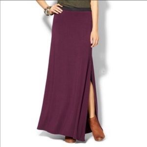 Free People | Plum Solid Soft Maxi Skirt Slit Med